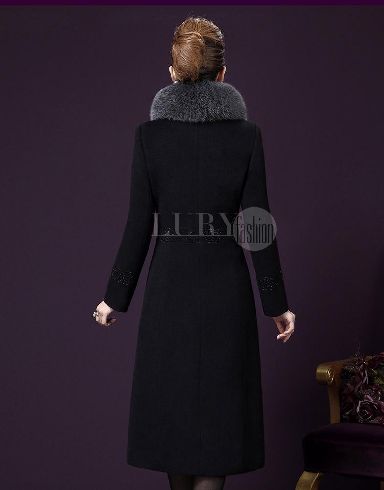 Áo khoác dạ dài cổ lông