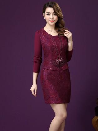 Váy gấm hoa ren màu đỏ mận sang trọng TV265