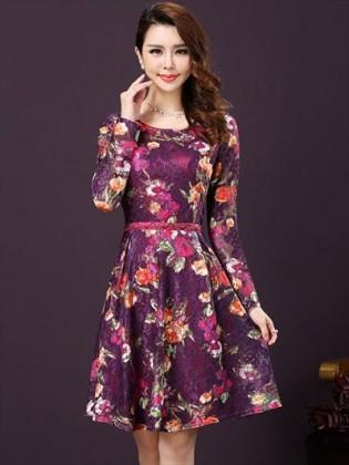 Đầm ren hoa tím dáng xòe thời trang TV267