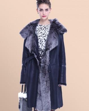 Áo khoác da thật oversize hàng xuất lót lông chồn cao cấp bên trong TA423