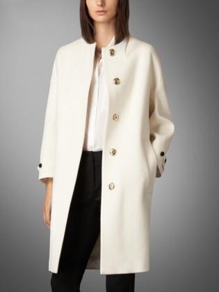 Khoác mangto trắng dáng dài cổ tròn thời trang TA414