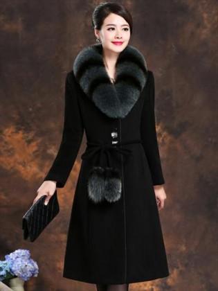 Áo choàng dạ cổ lông chồn cao cấp TA206 (Đen)