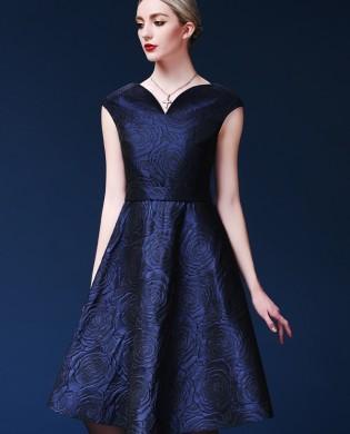 Đầm gấm hoa hồng chữ A một màu cổ cách điệu cao cấp TV525 (Xanh than)