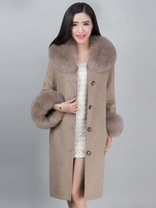 Áo khoác dạ cổ lông chồn nhập khẩu TA312