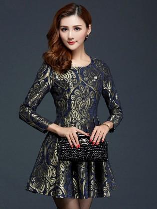 Đầm gấm xòe họa tiết hoa văn phục cổ cao cấp TV587