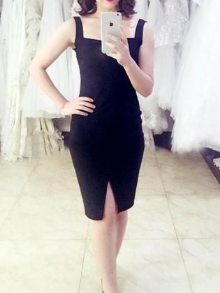 Đầm body đơn sắc cổ xẻ chữ V quyến rũ TV722 (Màu đen)