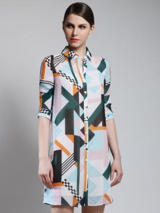 Đầm sơ mi họa tiết tay lửng thời trang TV846