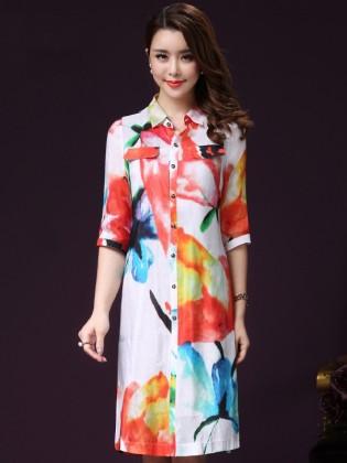 Đầm sơ mi họa tiết nền trắng tay lửng thời trang TV840