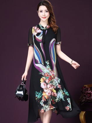 Váy voan họa tiết tay ngắn dáng dài cao cấp TV1003 (Màu đen)