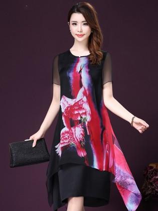 Váy voan họa tiết 2 lớp vạt xòe cao cấp TV1004