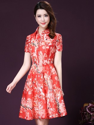 Đầm voan xòe hoa đỏ cao cấp TV1007