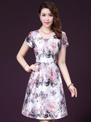 Đầm xòe hoa tím nền trắng trang nhã TV1010