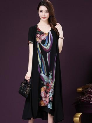 Váy xòe họa tiết vạt bất đối xứng cao cấp TV1018 (Màu đen)