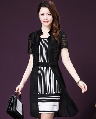 Set đầm suông kẻ sọc+áo voan khoác thời trang TV1019 (Màu đen)