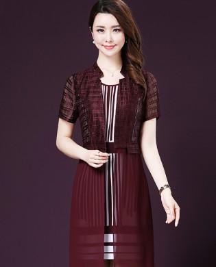 Set đầm suông kẻ sọc+áo voan khoác thời trang TV1019 (Màu đỏ)