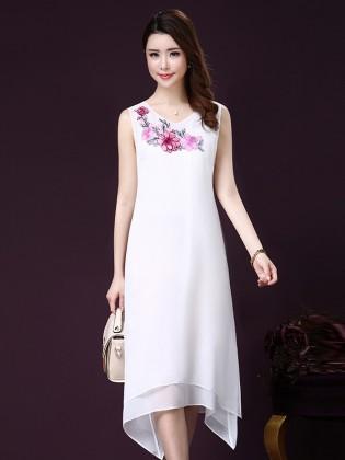 Đầm trắng dài sát nách 2 lớp thêu hoa hồng TV1024