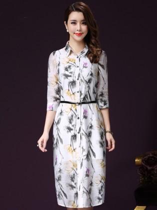 Đầm somi họa tiết 2 lớp chất đũi thô cao cấp TV1040