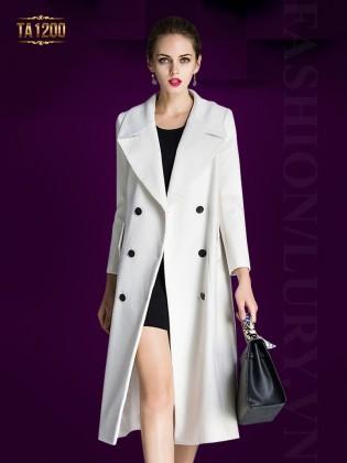 Áo khoác dạ dài cổ vest 6 khuy tròn cao cấp TA1200