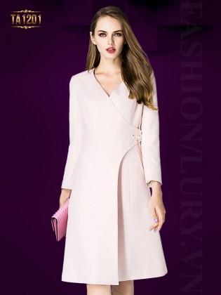 Áo khoác mangto dáng váy thắt đai chéo thời trang TA1201 (Màu hồng)