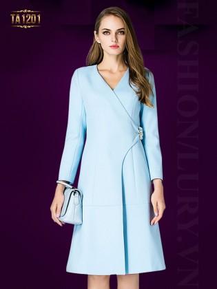 Áo khoác mangto dáng váy thắt đai chéo thời trang TA1201 (Màu xanh)