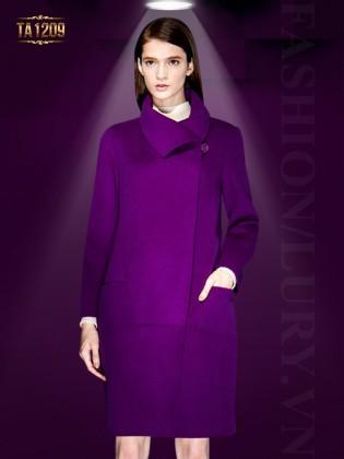 Áo khoác dạ tím cổ lệch thời trang TA1209