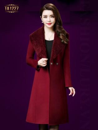 Áo khoác dạ dài 1 cúc cổ lông TA1227 (Màu đỏ)