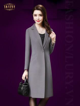 Áo khoác dạ cổ vest 1 khuy túi lệch cao cấp TA1231 (Màu ghi)