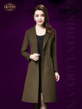 Áo khoác dạ cổ vest 1 khuy túi lệch cao cấp TA1231 (Xanh rêu)