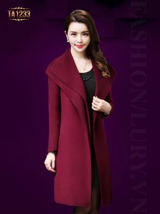 Áo khoác dạ cổ xếp lớp phối đai thời trang TA1233 (Màu đỏ)