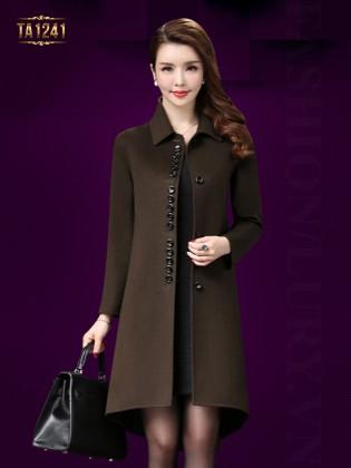 Áo khoác dạ trung niên vạt highlow thời trang TA1241 (Xanh nâu)