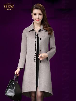 Áo khoác dạ trung niên vạt highlow thời trang TA1241 (Màu ghi)