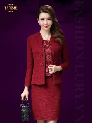 Set áo khoác vest ngắn+đầm hoa đỏ liền thân TA1246