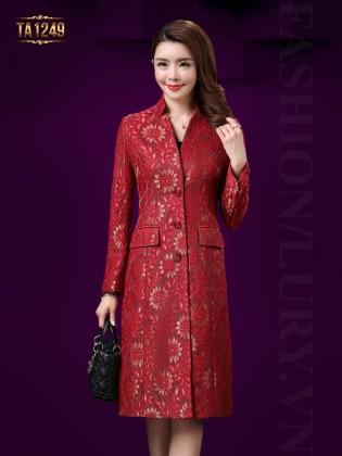 Áo khoác dạ dài hoa ren thêu nổi sang trọng TA1249 (Màu đỏ)