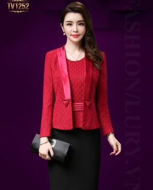 Set áo vest đỏ viền lụa đầm liền thân cao cấp TV1252