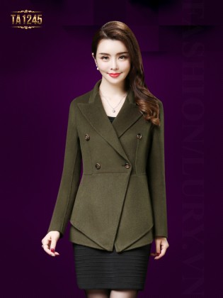 Áo dạ vest dáng ngắn tay khuy thời trang TA1245 (Xanh rêu)