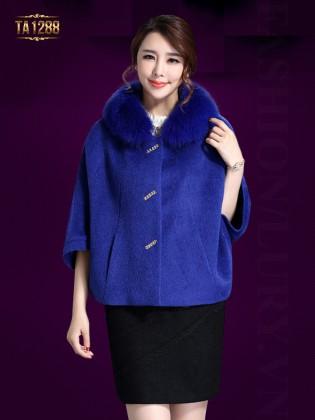 Áo khoác dạ cape cổ lông tay lửng thời trang TA1288 (Xanh than)