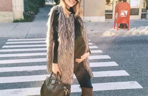 Gợi ý thời trang bà bầu với áo lông thú nữ cực đẹp 2017