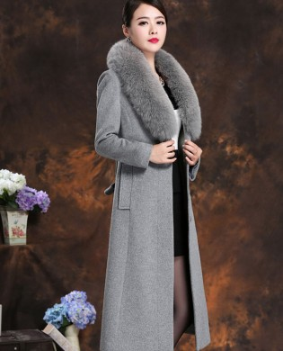 Áo choàng dạ cổ lông chồn cao cấp TA205