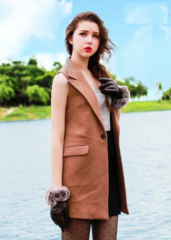 Thời trang áo khoác dạ sát nách thời trang cho bạn tự tin đón gió mùa đông