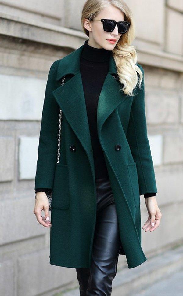 Mẫu áo dạ nữ Green dây nơ cuốn hút