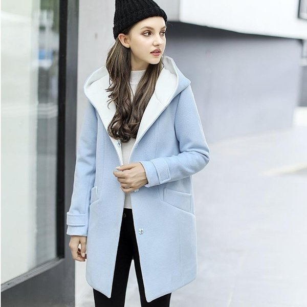 Những chiếc áo khoác dạ có mũ thiết kế theo xu hướng thời trang Hàn Quốc