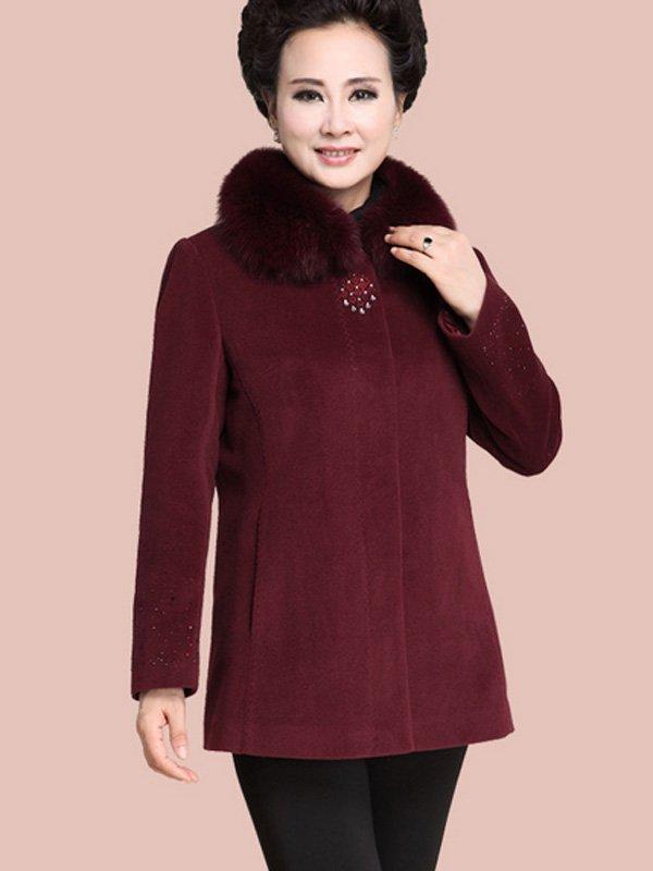 Mẫu áo khoác dạ cho người già thiết cổ lông vô cùng ấm áp