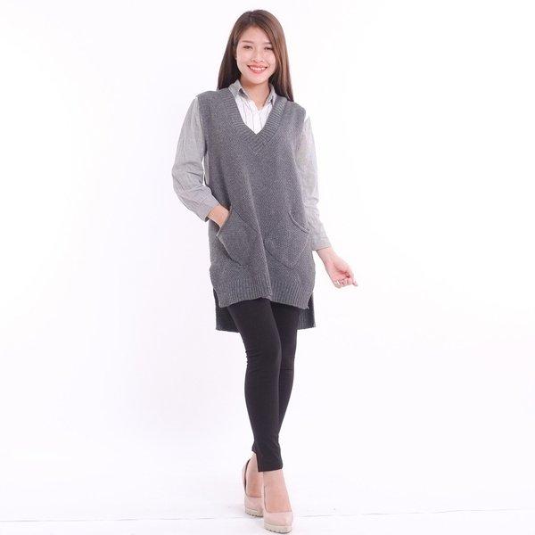 Kiểu áo len gile dáng dài giúp tôn dáng hiệu quả